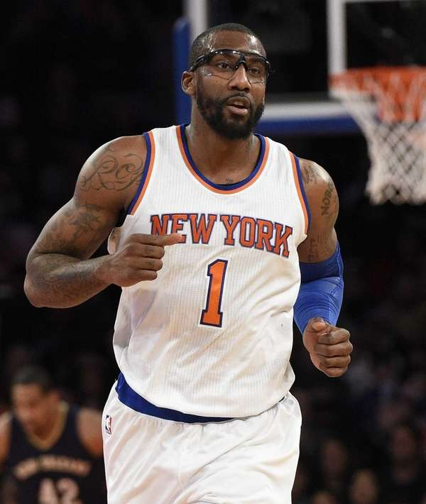 Knicks center Amar'e Stoudemire runs down the court