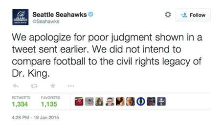 The Seattle Seahawks issued this apology after tweeting