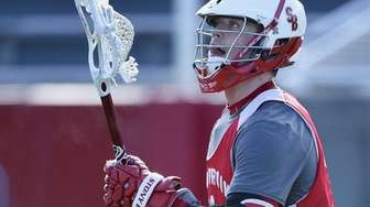 Stony Brook University attacker Brody Eastwood looks for