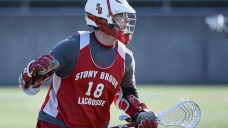 Stony Brook University attacker Brody Eastwood follows the