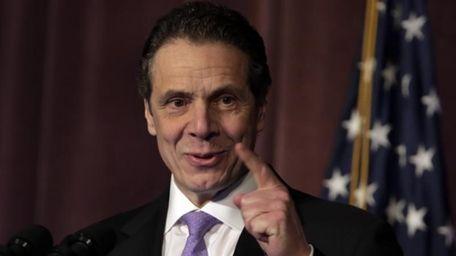 New York Gov. Andrew M. Cuomo speaks to