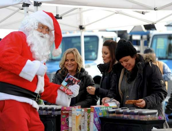 Amy Poehler and Tina Fey with Santa Claus