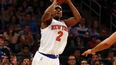 Langston Galloway of the New York Knicks hits
