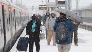 LIRR commuters at the Ronkonkoma train station as