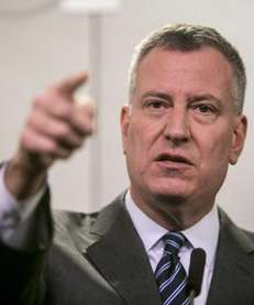 New York Mayor Bill de Blasio speaks about