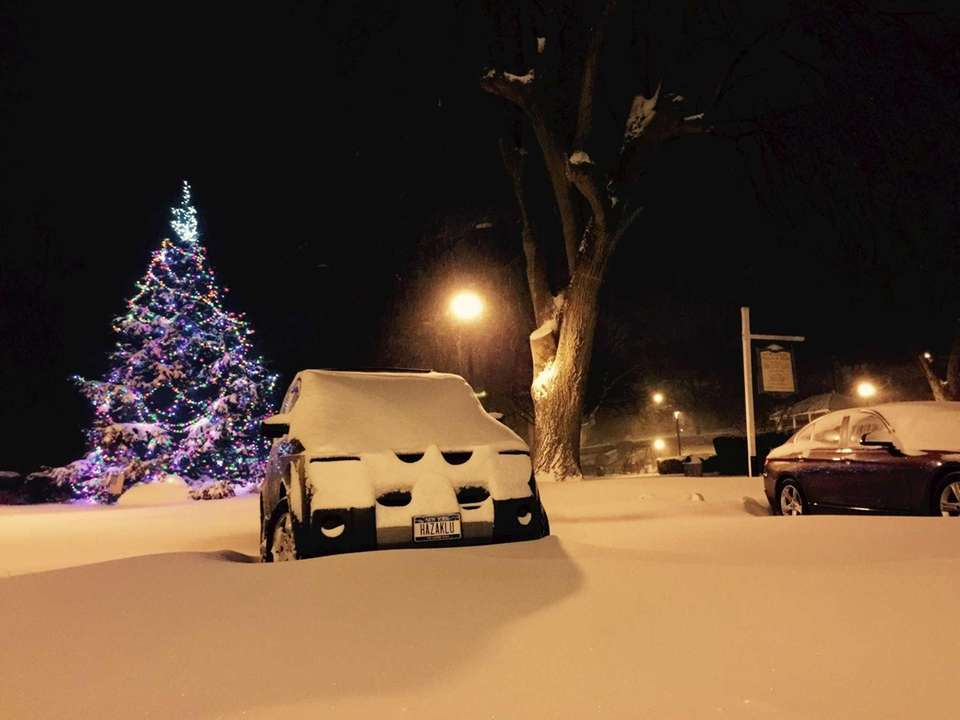 A snow-covered Northport scene Tuesday morning, Jan. 27,