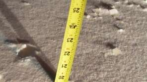 An very unofficial measurement of snow depth taken