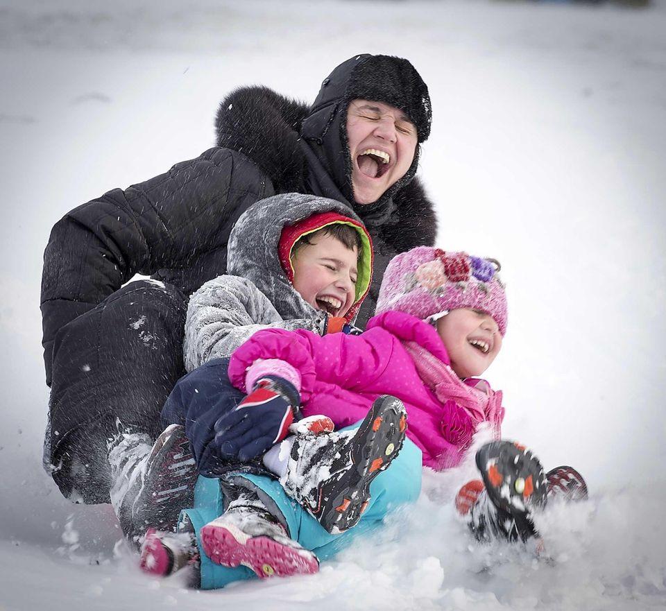 Hicksville resident Cristina Parlog and her children, Bianca,