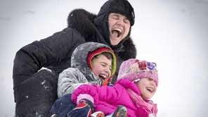 Hicksville resident Cristina Parlog and her children, Bianca,