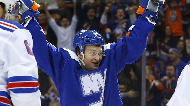 Mikhail Grabovski of the New York Islanders celebrates