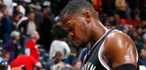 Joe Johnson of the Brooklyn Nets walks off