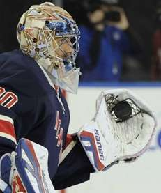 New York Rangers goalie Henrik Lundqvist warms up
