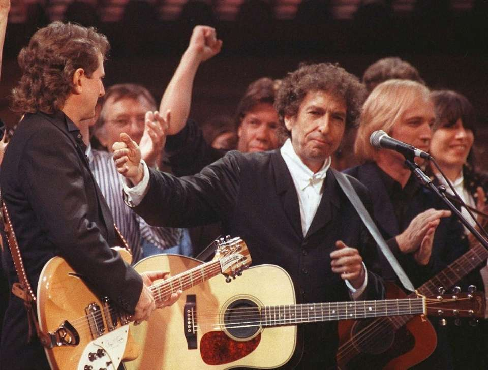 Singer-songwriter Bob Dylan is joined by other artists