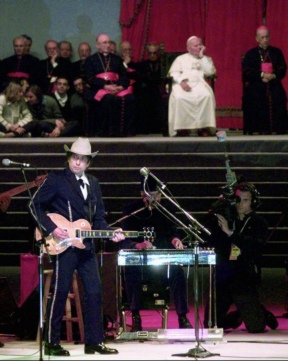 American singer-songwriter Bob Dylan sings