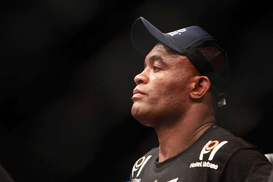 Anderson Silva is shown in the Octagon after