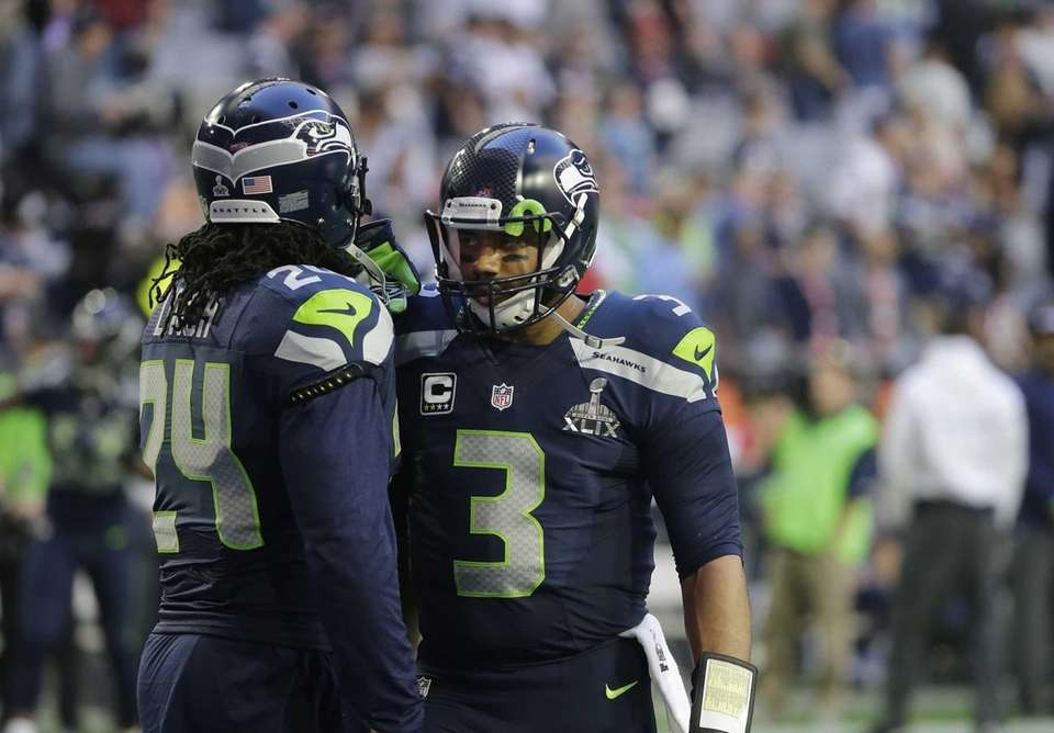 Seattle Seahawks running back Marshawn Lynch and quarterback