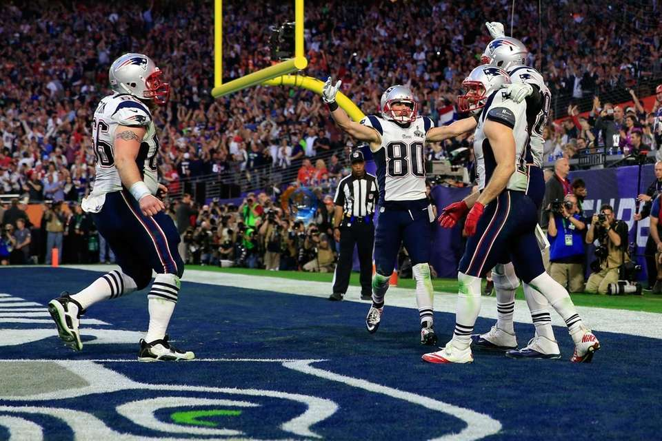 Rob Gronkowski of the New England Patriots celebrates