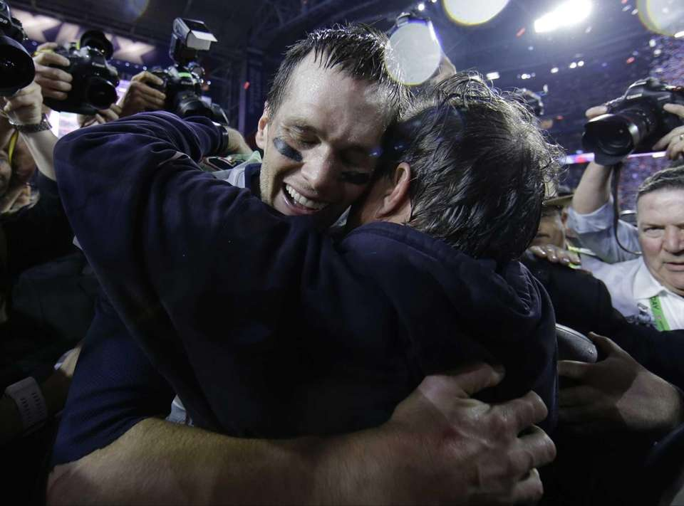 New England Patriots quarterback Tom Brady celebrates with