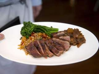 Seared duck breast from Crescent Duck Farm is