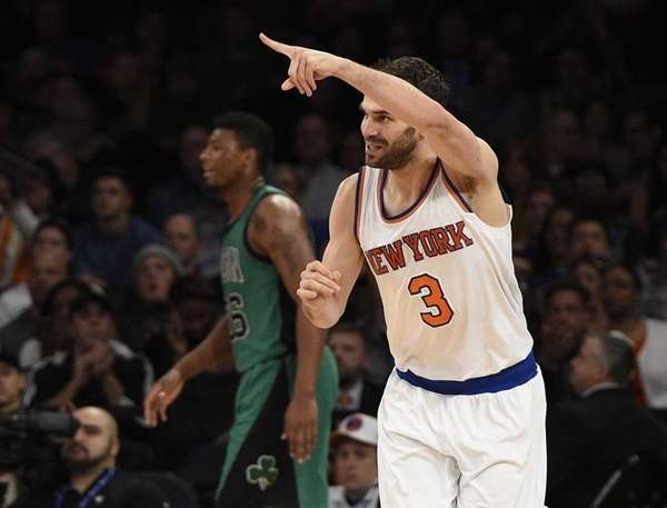 New York Knicks guard Jose Calderon reacts after