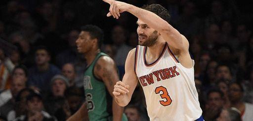 New York Knicks guard Jose Calderon reacts after