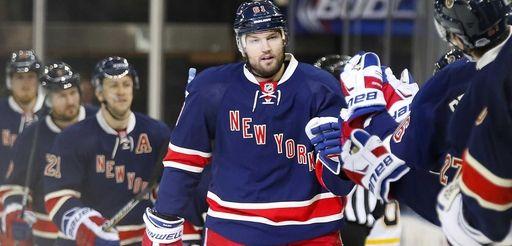 Rick Nash of the New York Rangers celebrates