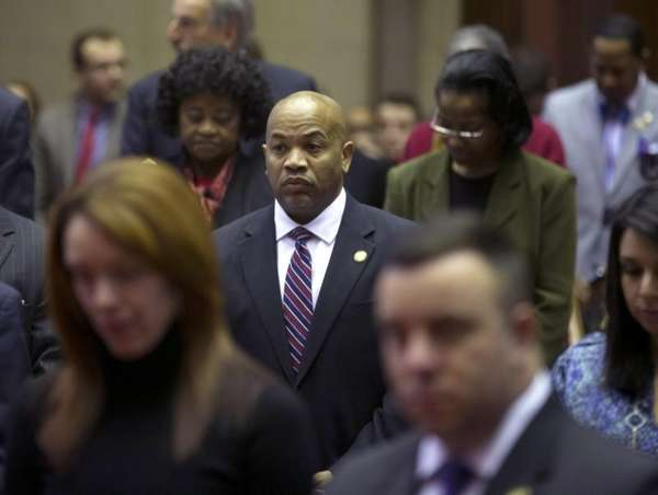 Assembly Speaker Carl Heastie (D-Bronx) stands with fellow