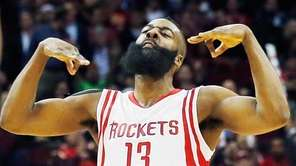 James Harden #3 of the Houston Rockets celebrates