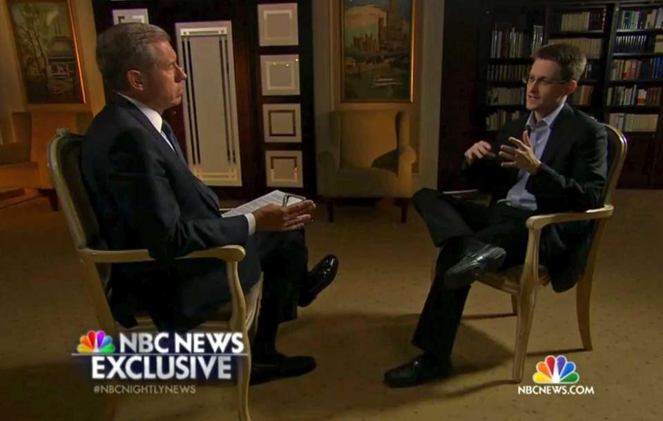 NBC anchor Brian Williams interviews NSA whistle-blower Edward