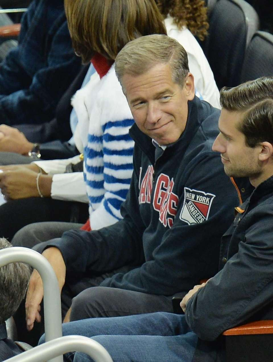 NBC anchor Brian Williams attends Game 3 of
