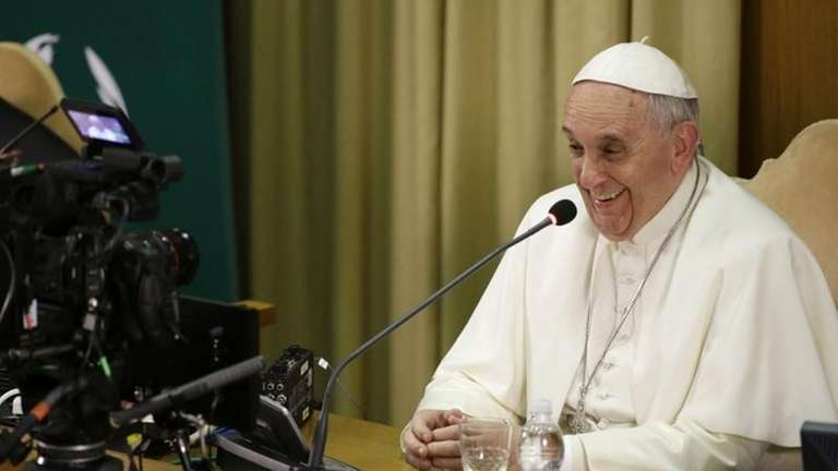 Pope Francis gives his speech in the Synod