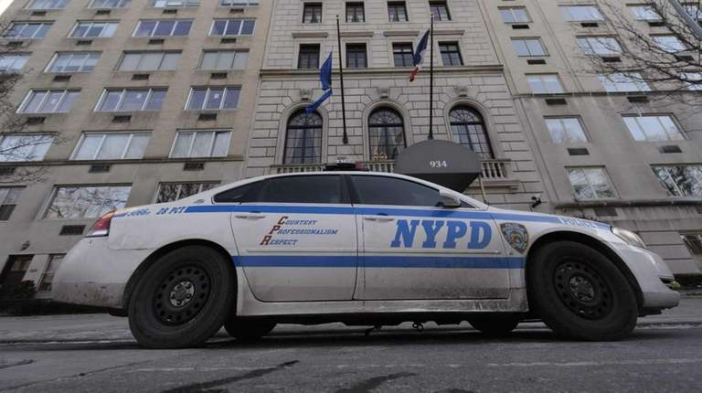 A New York City police car is posted