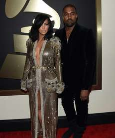 Kim Kardashian and Kanye West attend the 57th