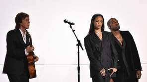 Paul McCartney, Rihanna, and Kanye West perform at