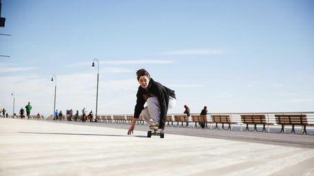 Sierra Beck from Long Beach skateboards along the
