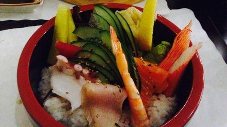 Chirashi at Osaka Japanese Restaurant in Huntington. (February