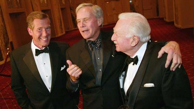 From left, news anchors Brian Williams, Tom Brokaw