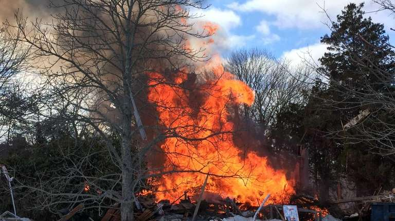A house exploded in Water Mill Wednesday, Feb.