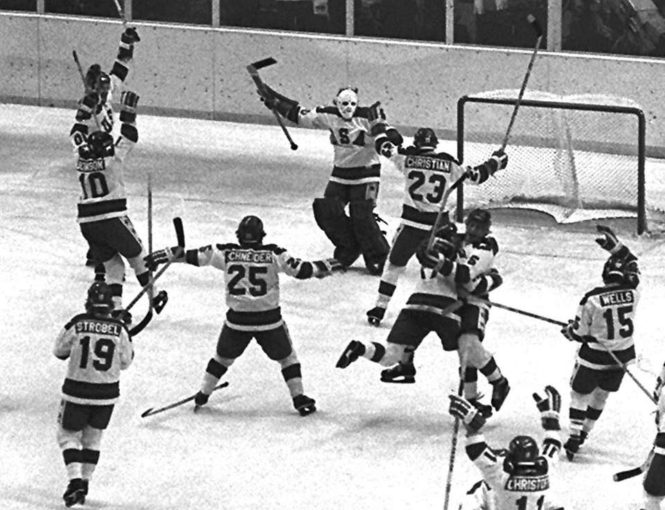 The 1980 U.S. Olympic hockey team members celebrate