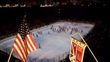 A view of the ice hockey rink in