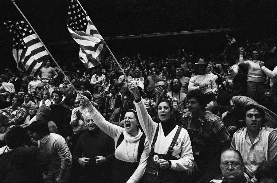 Jubilant spectators support the U.S. hockey team on