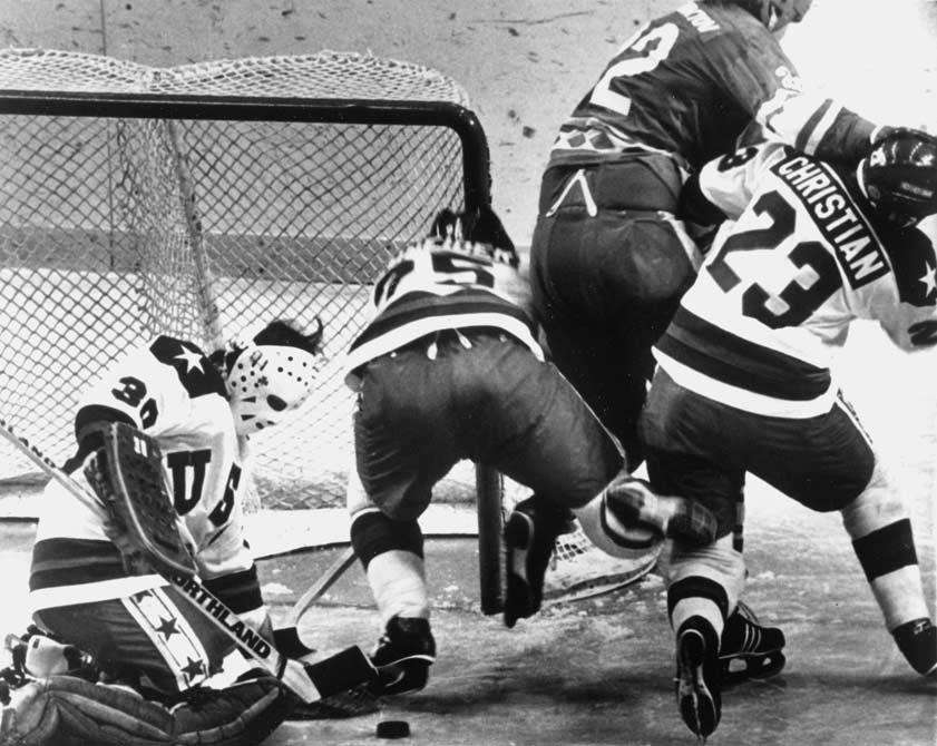 USA goalie Jim Craig stops a Soviet shot