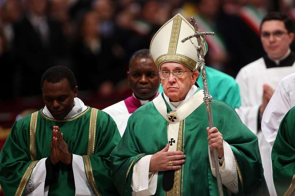 Pope Francis attends a Mass with newly appointed