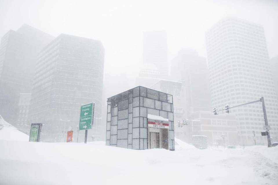Outside of South Station during a winter storm