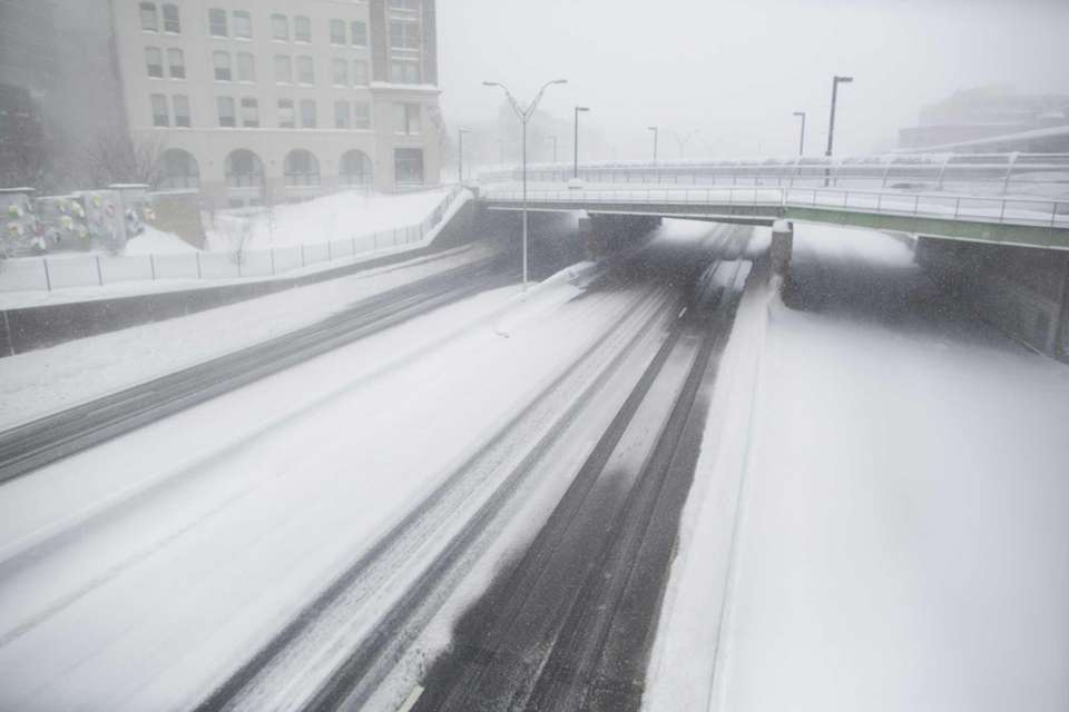 Route 90 is empty of traffic during a
