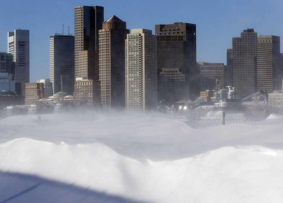 Blowing snow on the waterfront in the East