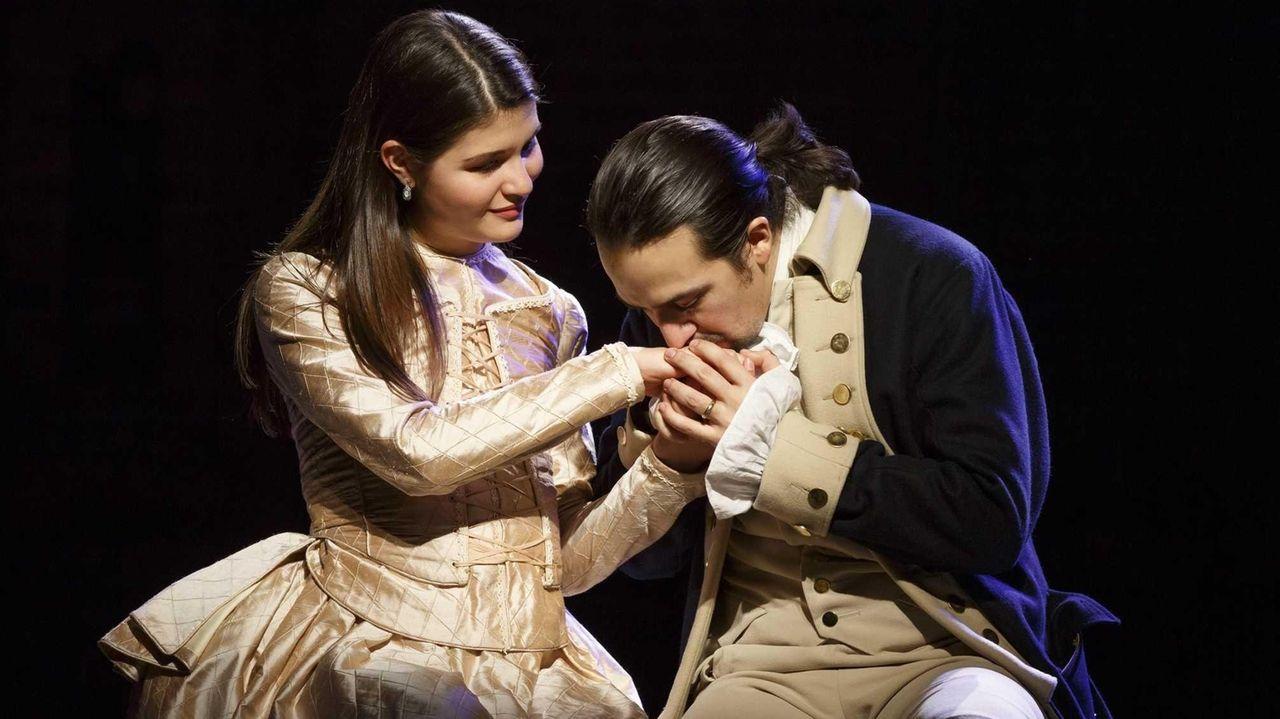 Phillipa Soo and Lin-Manuel Miranda in Hamilton, with
