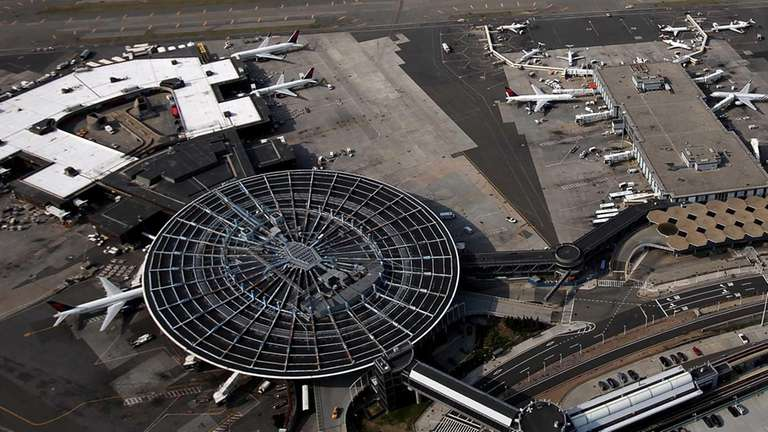 An aerial view of Kennedy Airport on April