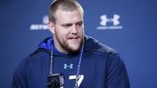 Offensive lineman Brandon Scherff of Iowa speaks to