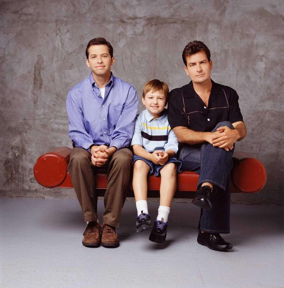 "Charlie Sheen, right, with his ""Two and a"